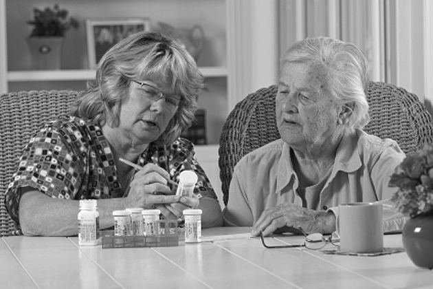 Different pills coming in the same colored bottles can make it difficult for seniors to be sure they are taking enough of the right medications.