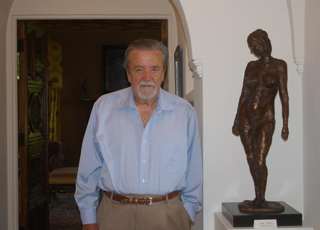 <p>Author and artist Robert Emmons with a bronze sculpture he created during a three-month stint earlier this year at the Florence Academy of Art in Italy.</p>