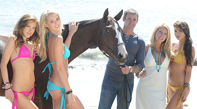 The horse may be a model prop for a photo shoot, but Happy Endingz Eco Swimwear founder Vanessa Rivers, second from right, and investor Lyndon Lea think their business idea is a thoroughbred. They're on location with, from left, Anna Elbek, Chelsey Tapie and Misha Rosenberg.