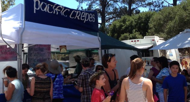 Pacific Crepes were among the scores of food vendors luring in visitors to the 26th annual Santa Barbara French Festival on Saturday at Oak Park. The festival continues Sunday. (Allyson Werner / Noozhawk photo)