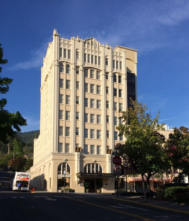 The historic Ashland Springs Hotel, built in 1925, is the only building in Ashland, Ore., over three stories.