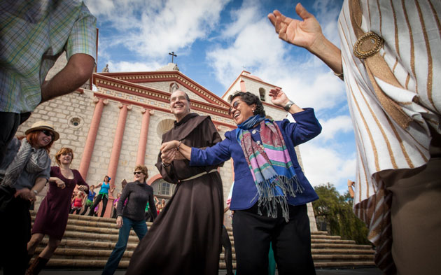Friars, friends and complete strangers gathered at the Santa Barbara Mission on Feb. 9 for a community rain dance and a prayer that California's drought would soon be broken. It remains to be seen whether the appeal will work, but the blue sky above indicated not so fast.