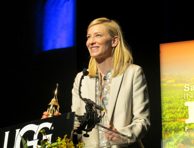 Cate Blanchett graciously accepts the Outstanding Performer of the Year Award on Saturday night at the Arlington Theatre. (Rochelle Rose / Noozhawk photo)