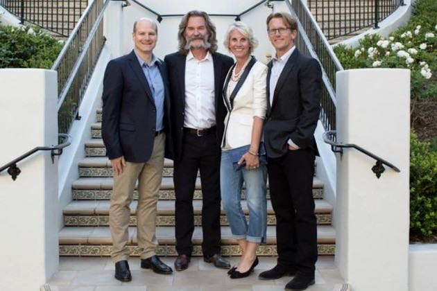Gathering before the Grand Wine Dinner during the recent Santa Barbara Food & Wine Weekend at Bacara Resort & Spa were, from left, Todd Schulkin, executive director of The Julia Child Foundation; actor and GoGi Wines founder Kurt Russell; and Cynthia and Eric Spivey, who is chairman of The Julia Child Foundation for Gastronomy and the Culinary Arts.