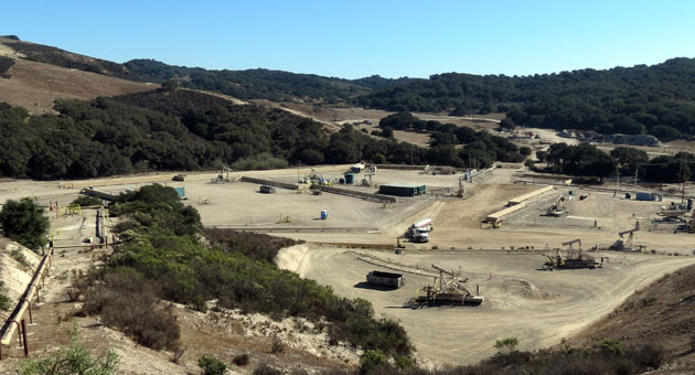 To extract oil from its lease south of Orcutt, Santa Maria Energy pipes in steam to loosen the oil, which is then transported back through the same pipeline in a cyclic