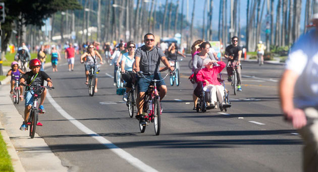 By foot, bike, skateboard and even wheelchair, Cabrillo Boulevard was a sea of people for last weekend's Santa Barbara Open Streets event along Cabrillo Boulevard.