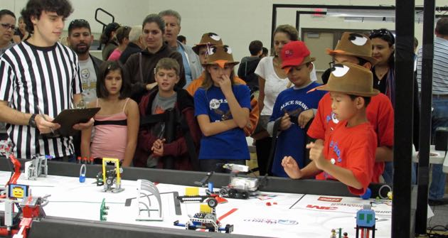 The robotics team from Alice Shaw Elementary School in Orcutt competes at the FIRST Lego League regional tournament Saturday at Lakeview Junior High in Orcutt. (Janene Scully / Noozhawk photo)