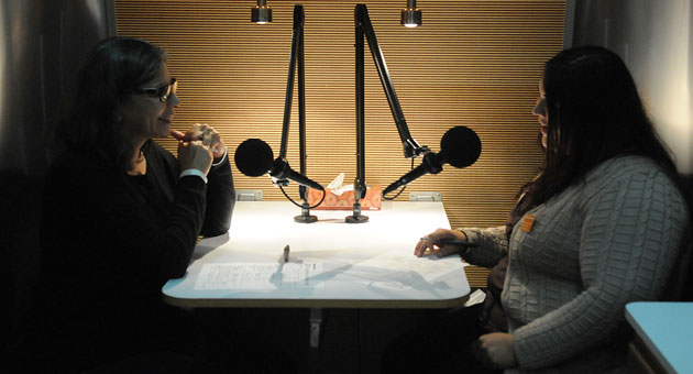 Melinda Gandara, left, and Jazmin Gomez recently interviewed each other for the radio program, StoryCorps, which allows everyday people to share their oral histories as part of a comprehensive national repository of American stories. (Lara Cooper / Noozhawk photo)