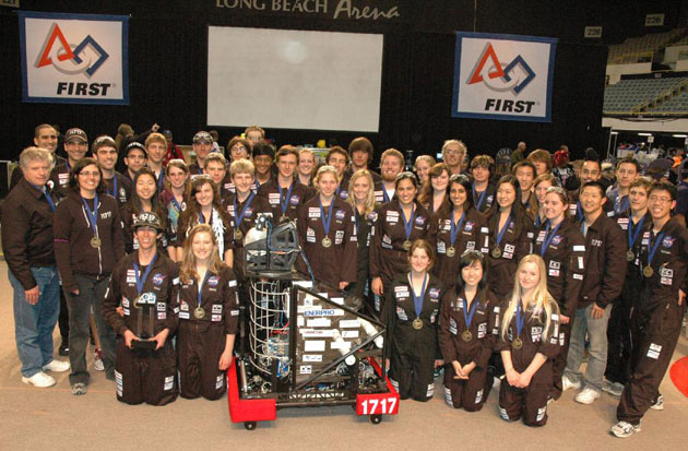 Team 1717 strikes a championship pose after winning the Los Angeles FIRST competition.