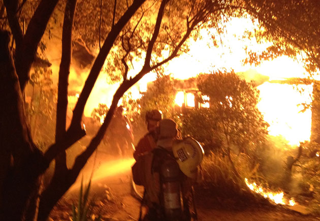 A house in the 400 block of Cota Lane in Montecito was destroyed by a fast-moving fire Saturday night. Units from the Montecito Fire Protection District, Carpinteria-Summerland Fire District and Santa Barbara Fire Department responded to the blaze.
