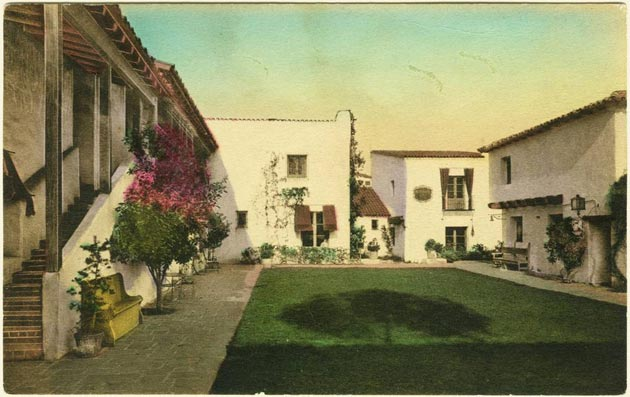 An undated daguerreotype of the courtyard at El Paseo. (Santa Barbara Trust for Historic Preservation photo)