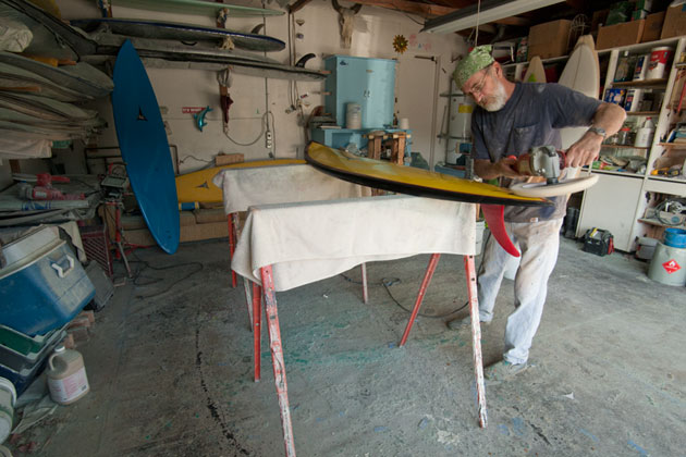 Gregg Tally has always been good at surfboard repair, an art he mastered in his youth. 'Back then you did your own repairs with resin and volan glass from a marine yard,' he recalls. 'I got fast and good at 'ding' repair.'
