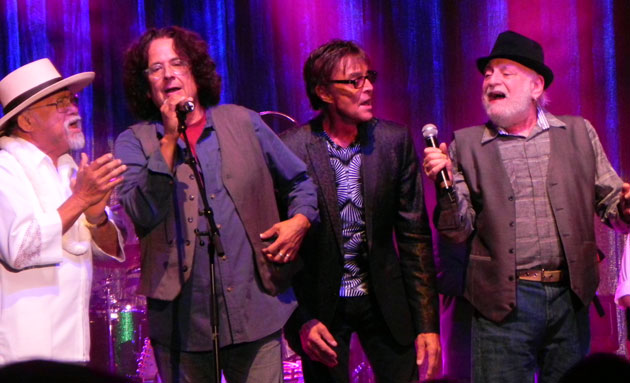 Happy together on the Chumash Casino stage are, from left, Larry Ramos, Mark Volman, Mark Lindsay and Howard Kaylan.