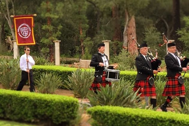 Continuing a Westmont College tradition, bagpipers lead the Class of 2015 to commencement ceremonies on Saturday. (Brad Elliott / Westmont College photo via Instagram)