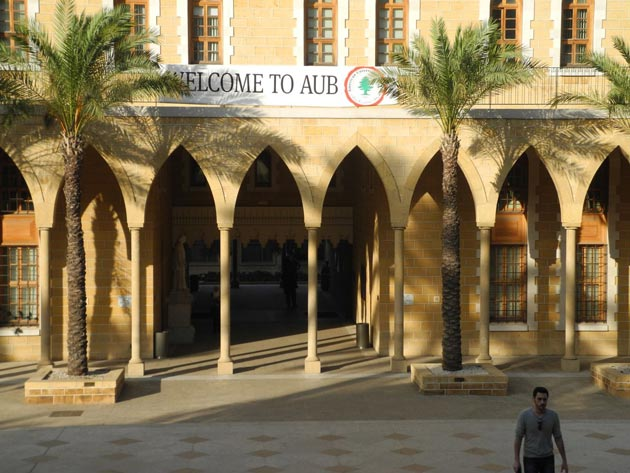 On campus at the American University of Beirut.