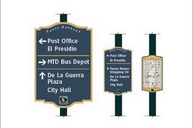 The City of Santa Barbara initially proposed brown signs to direct visitors around the downtown area, green ones for the city at large and blue signs along the waterfront. In the end, the City Council went with blue for all of the signs.