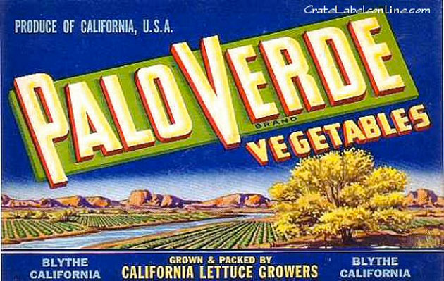 A Puritan produce company's label from the Palo Verde Valley near Blythe.