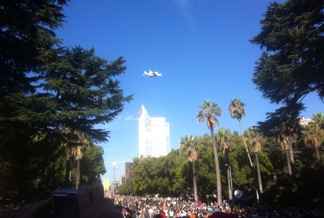The Endeavour made two fly-bys over downtown Sacramento on Friday. This picture was taken from the steps of the Capitol. (Bruce Thomas photo via iPad)