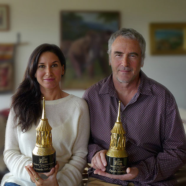 Jewelry design business partners Setenay Ozdemir-Osman and Daniel Gibbings with the Santa Barbara International Film Festival's new, iconic and uniform awards that Gibbings was commissioned to create for the 2014 festival.