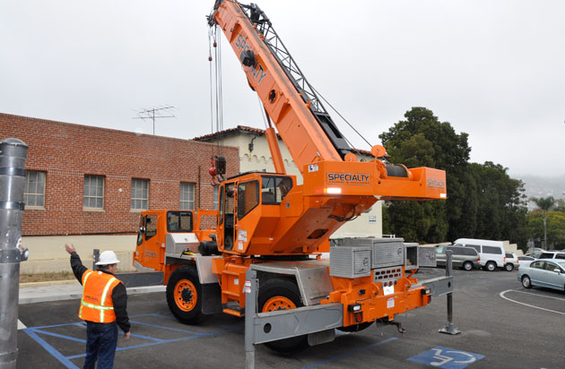 Not all Career Day presenters can bring a crane with them, but those from Tradart Foundation can.