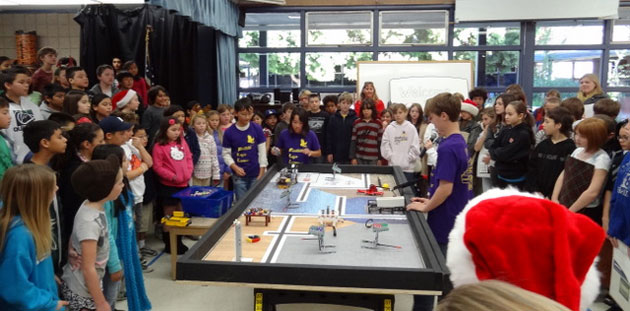 The Foothill LEGO Lovers demonstrate their robotics skills during an an assembly at Foothill School. In their spare time, they've started a new LEGO Robotics class on campus and recently began writing a blog.