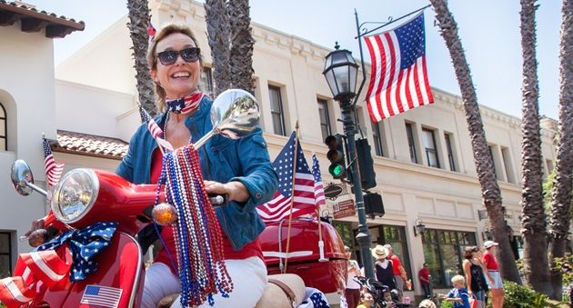 Stars, stripes and scooters forever at Santa Barbara's Independence Day Parade. (Fritz Olenberger / Noozhawk photo)