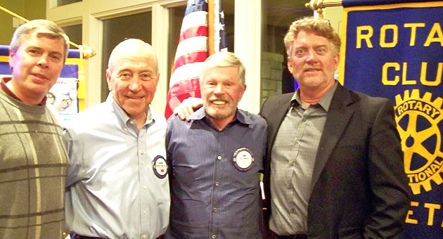 From left, Rotary Club of Goleta membership chairman David Dart, new member Dennis Forster, sponsor Don Galloway and club president Mike Pitts. (Rotary Club of Goleta photo)