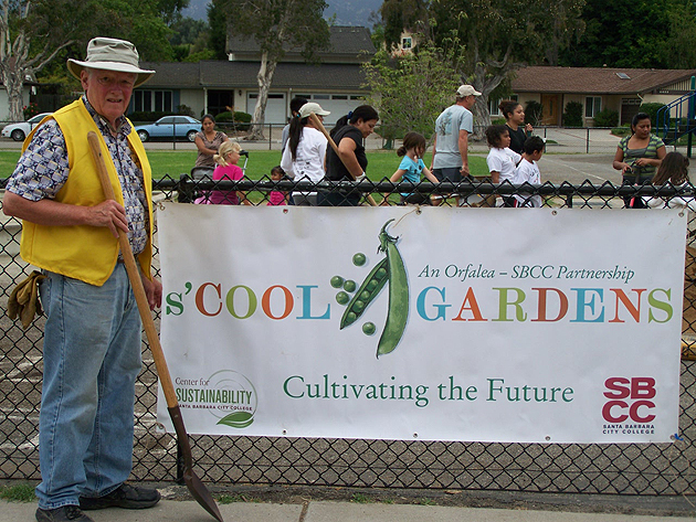 Rotarian John Hanna is shovel-ready for the Goleta Rotary Evening Club's project at La Patera School.