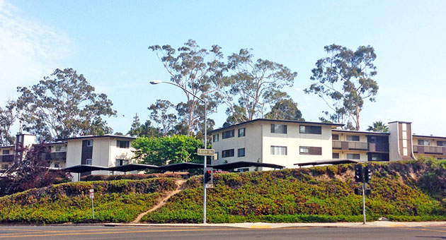 The Schulte family has completed the sale of its 97-unit Harbor Heights Apartment complex at 801 Cliff Drive across the street from Santa Barbara City College. (Radius Commercial Real Estate & Investments photo)
