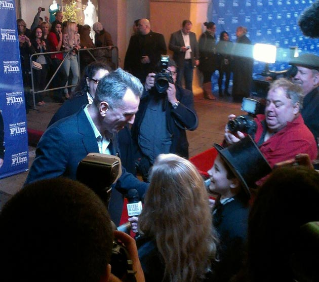 Actor Daniel Day-Lewis stops for a red-carpet interview with the Santa Barbara Middle School Teen Press.