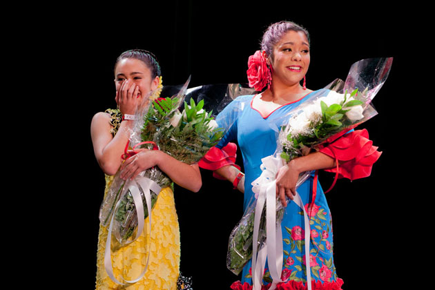<p>Sabrina Ibarra, right, won Spirit of Fiesta and Sadee Broida won Junior Spirit for Santa Barbara&#8217;s 2012 Old Spanish Days Fiesta.</p>