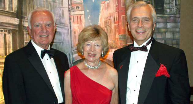 <p>Sue and Ed Birch, left, with United Way of Santa Barbara County president and CEO Paul Didier. The Birches were co-chairs of the 16th Annual Red Feather Ball.</p>