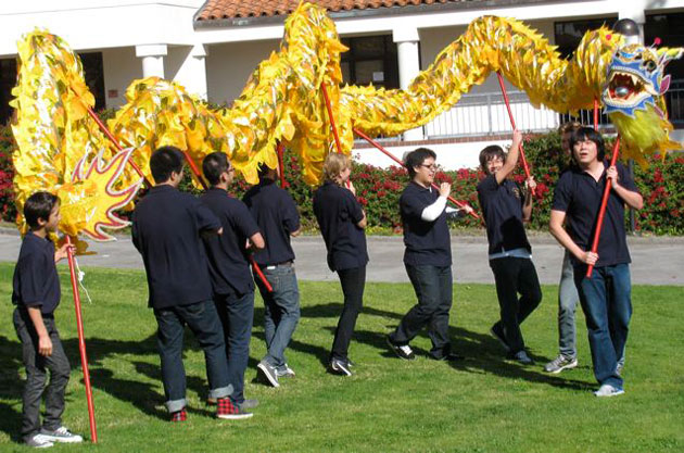 A new dragon wends its way around SBCC's West Campus.