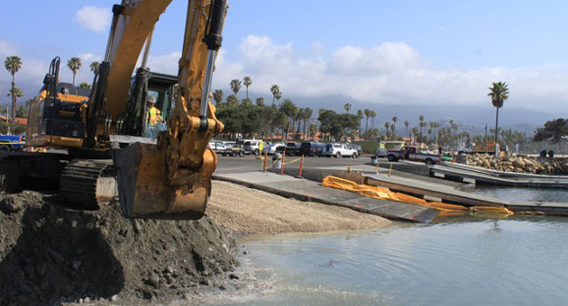 <p>Construction crews are repairing the western end of the public boat ramp in the Santa Barbara Harbor. The project is scheduled to be completed in early July.</p>