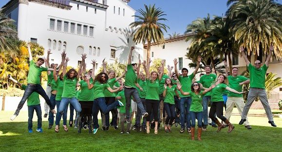 Invoca CEO Jason Spievak, far right, takes a leap forward with some of the company's new hires outside the Santa Barbara County Courthouse after RingRevenue rebranded as Invoca. (Invoca photo)