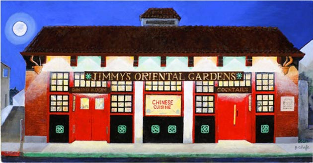 Artist Gary Chafe's painting of Jimmy's Oriental Gardens is being used to adorn a T-shirt for sale at the Pickle Room, 126 E. Canon Perdido. (Gary Chafe painting)