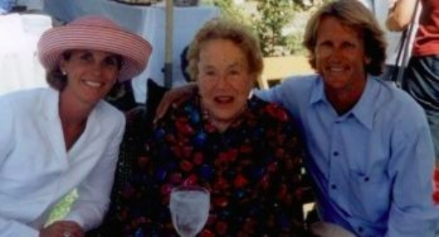 <p>Celebrity chef Julia Child, center, with Cynthia and Eric Spivey in a 2002 photo taken at Rose Story Farm in Carpinteria.</p>