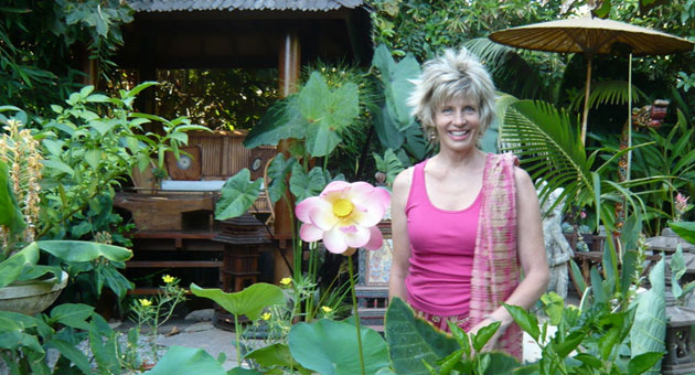 Rose Herschorn at home in her serene garden at The Sacred Space in Summerland.