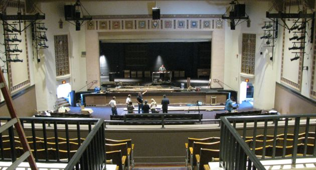 Construction at La Cumbre Junior High School's theater includes newly painted floors and seating. Renovations are scheduled to be finished before school resumes next month at the campus on Santa Barbara's Westside.. (Shaun Kahmann / Noozhawk photo)