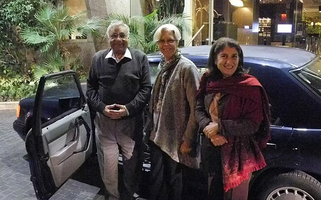 Anabel Ford with Nadim Cortas and his wife, Asterik. Cortas is the son of former Al Ahaliah headmistress Wadid Cortas.