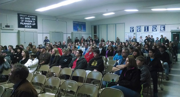 Hundreds of people gathered at Orcutt Academy High School last week to hear results of the computerized Orcutt Academy Program enrollment lottery. Officials say the popular program has received the most applications in its history. (Orcutt Academy photo)