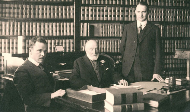From left, Price, Postel & Parma partners John Heaney, Jarrett Richards and Francis Price in 1918. (Price, Postel & Parma photo)
