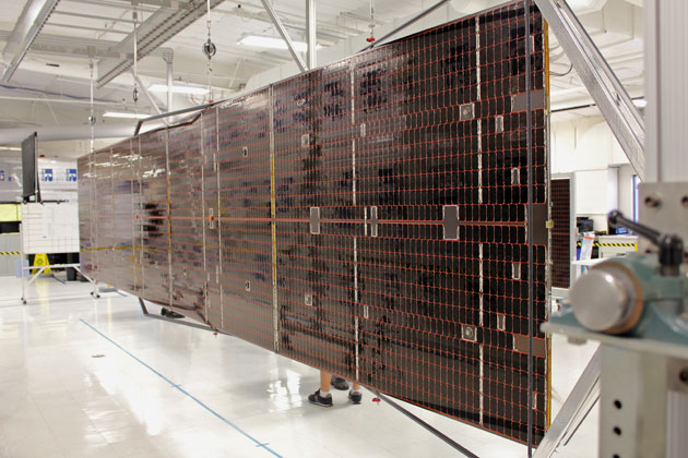 This wing of an ATK Aerospace solar array extends to about 150 feet and can power larger spacecraft.