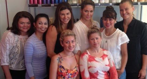 Leora Gaspar, center rear, and her talented team of beauty blitz artists at Red Studio, which has been serving a Coast Village Road clientele since 1990.
