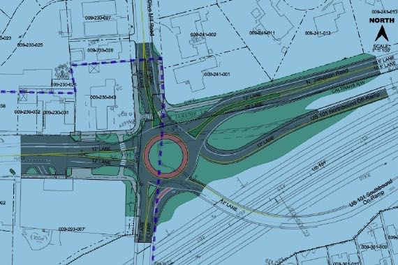 The City of Santa Barbara wants to go the roundabout way at Highway 101 at Coast Village and Olive Mill roads in Montecito. Click here for a larger version. (Kittelson & Associates Inc. illustration)