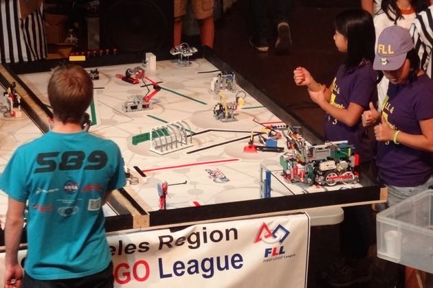 Team FLL & Beyond: 2 squared + 3 runs their robot at the Los Angeles Regional Championship Tournament last fall. (Ri-Pen 'Rip' Chou photo)