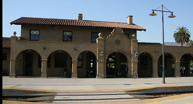 The Mission Revival-style Santa Barbara train station.
