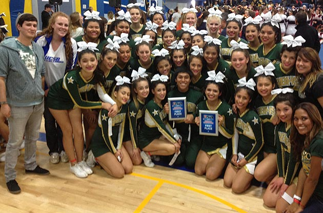 The Santa Barbara High Dons Cheerleading Team gathers for a victory photo opportunity after winning the USA Regionals Saturday at Agoura High School in Agoura Hills. (Easter Moorman photo)
