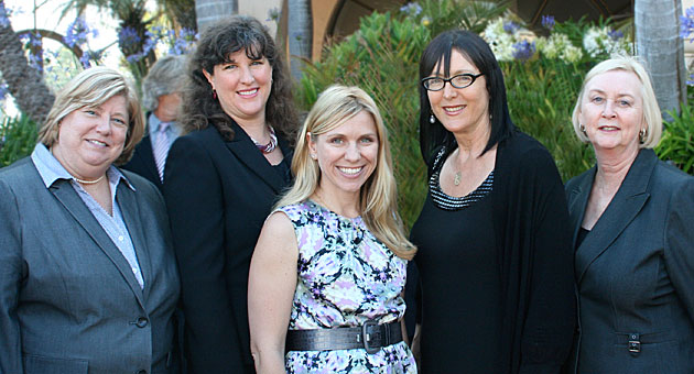 Pausing for a photo opportunity at the 17th Annual South Coast Business & Technology Awards are, from left, Scholarship Foundation of Santa Barbara executive director Colette Hadley, board president Patricia MacFarlane, development director Rebecca Anderson, presenter Lynda Weinman of Lynda.com and Barbara Blone.