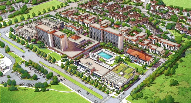 An aerial view of the planned San Joaquin residential site depicts how UC Santa Barbara intends to make it a new housing nucleus for the campus. The complex runs behind the multistory Santa Catalina Residence Hall in the center of the image. The Storke Ranch neighborhood is at the top right corner. (UC Santa Barbara / Urban Design Associates rendering)